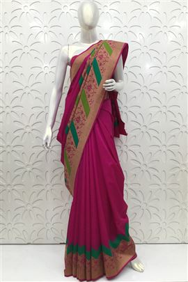Attractive DeepPink Color Silk Sarees