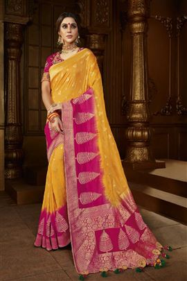 Delightful Gold Rani Color Designer Saree
