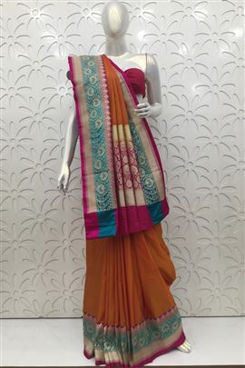 Excellent Copper Color Silk Sarees