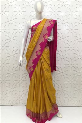 Exotic Mustard Color Silk Sarees
