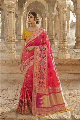 Exotic Pink Color Party Wear Silk Saree