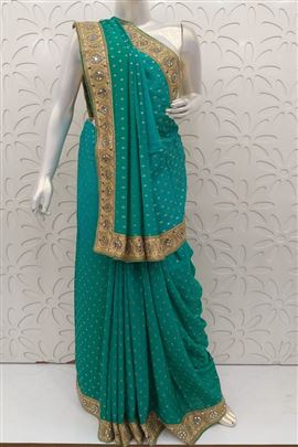 Festal Turquoise Color Wedding Saree