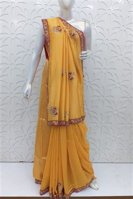 Forever Yellow Color Wedding Saree