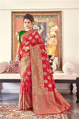 Glamorous Red Color Designer Silk Sarees