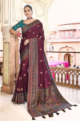 Glamorous Wine Color Designer Saree