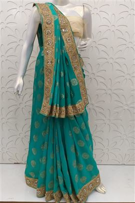 Gleaming Turquoise Color Wedding Saree