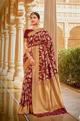 Grace Maroon Colour Silk Sarees