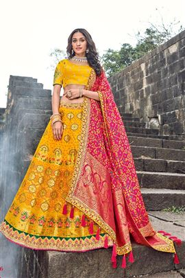 Grace Yellow And DarkPink Color Wedding Lehenga