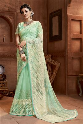 Graceful SeaGreen Color Designer Sarees