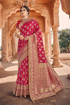 Lavishing Crimson Color Party Wear Silk Saree