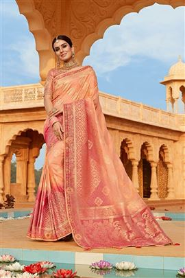 Scintillating Peach Color Designer Saree