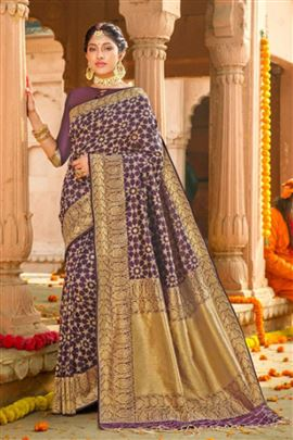 Sparkling Purple Colour Silk Sarees