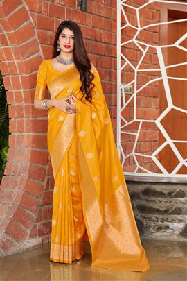 Sterlling Yellow Color Party Wear Silk Saree