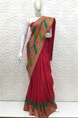 Sunshine Red Color Silk Sarees