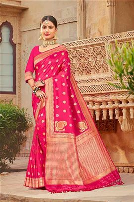 Superb DeepPink Colour Silk Sarees