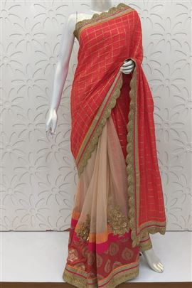 Tomato And Pink Color Wedding Saree