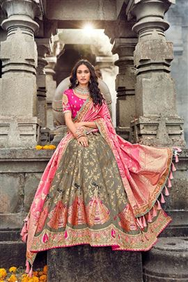 Versalite Grey And Pink Color Wedding Lehenga
