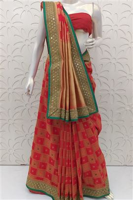 Vibrant Red Color Wedding Saree